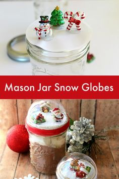 DIY Mason Jar Snow Globes Tutorial - Creative Cynchronicity Diy Christmas Gifts For Friends, Cheap Christmas Gifts, Christmas Diy, Christmas Projects, Christmas Decorations, Christmas Calendar, Xmas, Christmas Baskets, Christmas Sweets