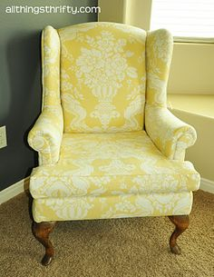 Yellow wingback chair....