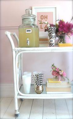drink cart, style, lemonade, flowers, blushshop, stripe straws,