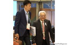 North Korea Olympic Committee`s Chang Ung (right) arrives at the IOC Session (ATR)