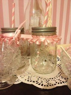 Ruffled mason jars at a Pink Ballerina Party #pinkparty #ballerina