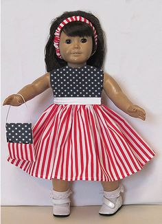 "Handmade PATRIOTIC FLAG LOOK DRESS Clothes American made for 18"" Girl Doll #handmade"