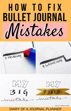 Do you keep making mistakes in your bullet journal? Read here for all of the best ways to cover, erase and fix your bujo mistakes without ruining the page! Bullet Journal Layout Templates, Bullet Journal Contents, Bullet Journal Headers, Bullet Journal Font, Bullet Journal Printables, Bullet Journal Hacks, Bullet Journals, Bullet Journal For Beginners, Bullet Journal How To Start A
