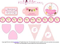 Planning a Pink Theme - Baby Shower, visit www.pinkonnet.com for free printable decor templates.