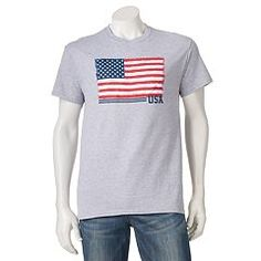 Salute your casual style with this men's flag tee. Kohls, Graphic Tees, T Shirts For Women, Box Store, Clothes, Flag, Trends, Spring, Fashion