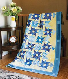 Just one quilt block design creates a marvelous sense of movement and depth in this large lap quilt pattern. Midnight Reflection is a piecing challenge, but the results are so worthwhile!