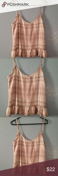 Anthropologie Cloth & stone pink plaid tank top M NWOT Anthropologie Cloth & stone pale pink plaid tank top with fuffle bottom size Medium cloth & stone Tops Tank Tops