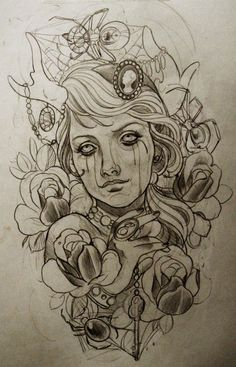Tattoo Artwork by Emily Rose Murray Tattoo Sketches, Tattoo Drawings, Body Art Tattoos, Art Drawings, Tattoo Ink, Leg Tattoos, Arm Tattoo, Emily Rose, Catrina Tattoo