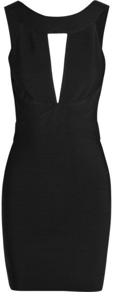 BALMAIN Cutout Stretchknit Mini Dress - Lyst