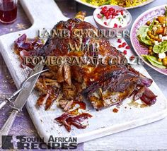 South African Recipes | PULLED LAMB SHOULDER WITH STICKY POMEGRANATE GLAZE