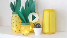 Pineapple mason jar DIY from A Beautiful Mess