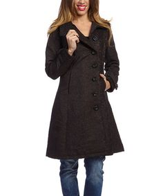 Another great find on #zulily! Black Funnel Collar Coat by Montanaco #zulilyfinds