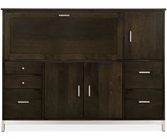 Room & Board - Linear 51h 67w Office Armoire Three-File Drawers/Three-Doors with Steel Base  M's Desk