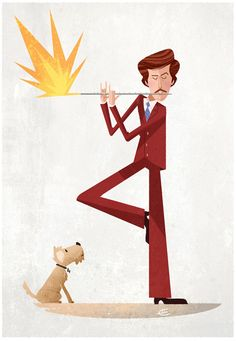 Anchorman by Graham Corcoran, via Behance. Check out Pete  Brigette's review of Anchorman: The Legend Of Ron Burgundy here: http://chaptersandscenes.wordpress.com/2014/04/14/pete-and-brigette-review-anchorman-the-legend-of-ron-burgundy/
