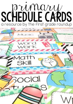 Schedule cards for posting in your elementary classroom for just about every subject area you can imagine! Classroom Welcome, Classroom Themes, Classroom Design, Daily Schedule Cards, Subject Labels, Behavior Plans, Music Words, Teacher Organization, Organizing