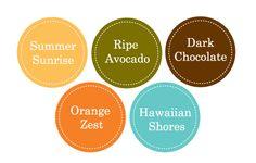 Summer Sunrise, Ripe Avocado, Dk Chocolate, Orange Zest, Hawaiian Shores