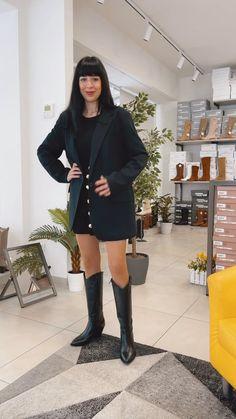 Stivali Texani Donna Neri in Pelle Tacco a Cono Made in Italy Black Boots