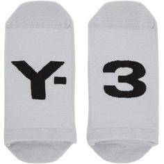 Y-3 Grey Logo Invisible Socks ($19) ❤ liked on Polyvore featuring men's fashion, men's clothing, men's socks, grey, sheer grey, mens sheer socks, non elastic mens socks, mens grey socks, mens knit socks and mens gray socks