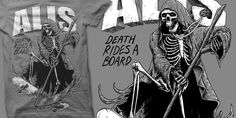 """Death Rides A Board"" t-shirt design by MonkeyMouth"