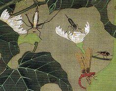 伊藤若冲 Ito Jakuchu 動植綵絵 Doshoku Sai-e 23_池辺群虫図-0002