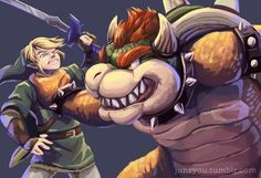 Link vs Bowser by Junryou