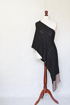 Black shawl knit scarf knit shawl black scarf by KnitwearFactory, $100.00