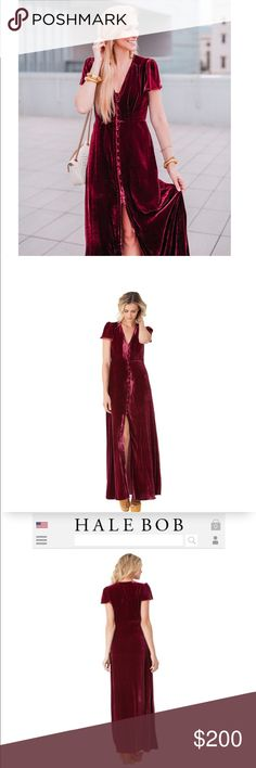 Hale Bob Maroon Tiffany Silk Maxi Hale Bob Maroon Tiffany Silk maxi. Sexy slit with buttons going up. Size XS. Only worn once, in excellent condition. Retail: $350. Check out my listings for Tory Burch, Adidas, Kate Spade, Michael Kors, etc. Hale Bob Dresses Maxi