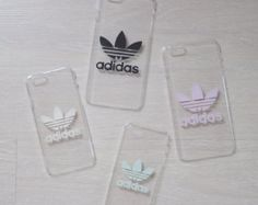 Transparent hard phone cover case with Adidas logo for iPhone and Samsung Galaxy