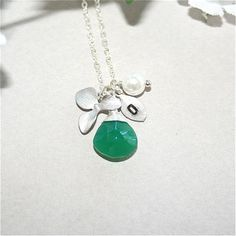Personalized Initial Necklace Emerald Green by smilesophie on Etsy