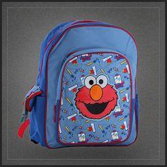 Sac à dos école avec Elmo de Sesame Street. Sac Rue Sésame pour l'école en vente sur Muku. Sac enfant original.