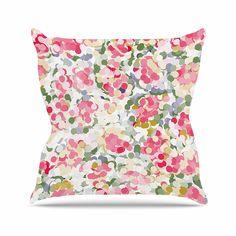 KESS InHouse MH1013AOP03 18 x 18-Inch 'Matthias Hennig Soft Dots Pink Floral' Outdoor Throw Cushion - Multi-Colour