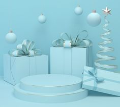 Holiday Christmas Pastel Color Background With A Gift Box And Podium Display Stand, Rendering. Pastel Color Background, Pastel Colors, Pink Christmas, Christmas Holidays, Christmas Ribbon, Background For Photography, Photography Backdrops, Abstract Backgrounds, Wallpaper Backgrounds