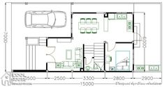 Narrow lot house plan is the answer if you have a lot with only 7 to 8 meters in width maximixing the overall footprint to meters by 6 meters. Home Building Design, Building A House, Narrow Lot House Plans, 2 Storey House Design, Roof Deck, Home Goods, Bedrooms, Floor Plans, How To Plan