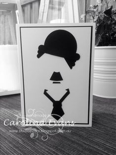 Charlie Chaplin Silhouette Punch Art Card using Stampin' Up! Charlie Chaplin, Punch Art Cards, Evans, Diy Cards, Men's Cards, Silhouette Art, Pretty Cards, Crafty Projects, Masculine Cards