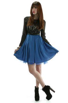Blue Lace Detail Dress
