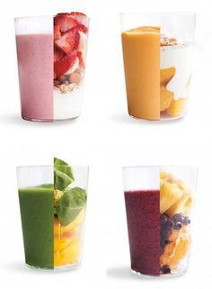 INSPIRACIÓN PARA CUATRO BATIDOS...  (de izquierda a derecha y de arriba abajo):   1. Leche vegetal, plátano, fresas y frutos secos.  2. Mango, leche vegetal, zumo de limón o lima, stevia o panela sirope de ágave, canela.  3. Melocotón, espinacas, jengibre, stevia o panela o sirope de ágave, agua.  4. Piña, arándanos, naranja, stevia o panela o sirope, agua.  (https://www.facebook.com/groups/rawveganspain/?directed_target_id=0)