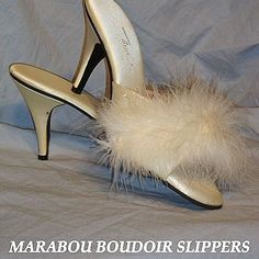 Vintage 1950's White Marabou High Heel Slippers Polly California!