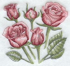 Sketched Roses Embroidered Cotton Kitchen Towel by remimartin on Etsy https://www.etsy.com/listing/95530571/sketched-roses-embroidered-cotton