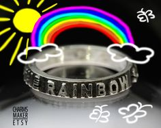 Somewhere over the rainbow ... Inspirational quote on Fine Silver Ring