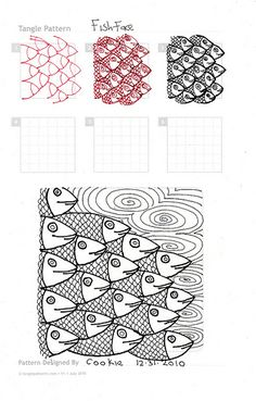 Zentangle pattern Fish face by Cookie Zentangle Drawings, Doodles Zentangles, Doodle Drawings, Fish Zentangle, Tangle Doodle, Zen Doodle, Doodle Art, Doodle Patterns, Zentangle Patterns