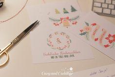 Adventskalender Tag20:  Kostenloses Printable für Weihnachtskarten als PDF. Freebie-Printable