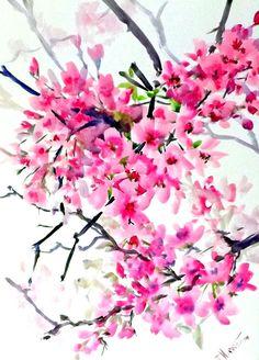 Cherry Blossom, peinture originale d'aquarelle, 16 x 12 po, peinture florale, aquarelle art de style asiatique
