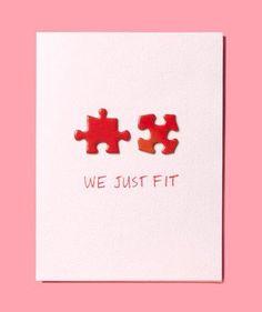 tarjeta de San Valentín original  con piezas de puzzle