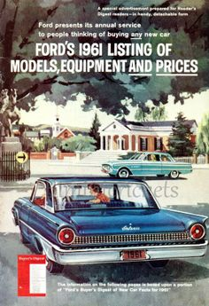 5 INSTANT DOWNLOADS Ford Cars Catalogue 1961 by Biminicrickets, $5.00