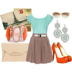 Orange, Turquoise, Brown