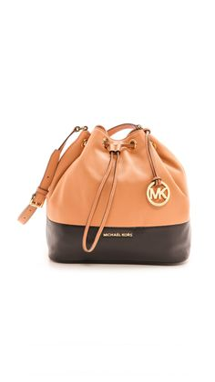 MICHAEL Michael Kors Womens Jules Large Drawstring Bucket Bag Sun Tan/Black One Size *** More info could be found at the image url. (This is an affiliate link) #MichaelKorsHandbags