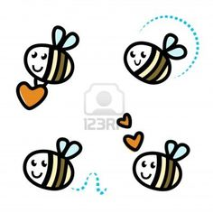 Funny Bee collection. retro Illustration.