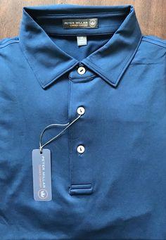 Peter Millar E4 Per4mance Summer Comfort Solid Dark Blue Golf Polo Shirt Size M  | eBay