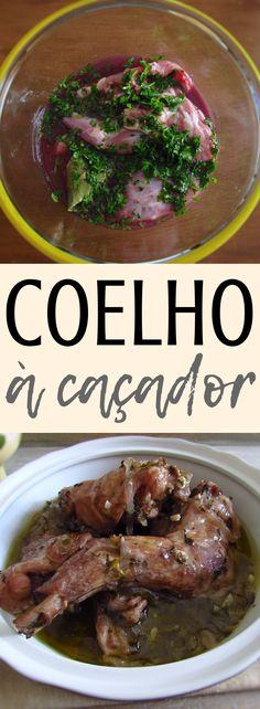 'Coelho à caçador' (stewed rabbit) Rabbit Stew, Rabbit Food, Portuguese Recipes, Italian Recipes, Portuguese Food, Roasted Rabbit Recipe, Rice In The Oven, Squirrel Food, Crepes Filling