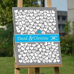 Grey Wedding Guest Book Alternative Canvas 150 Hearts Wedding Book for Guests Personalized Wedding Guest Book Ideas Wedding Decor 2016 Wedding Guestbook for Colletcting Signatures Anniversary Gifts